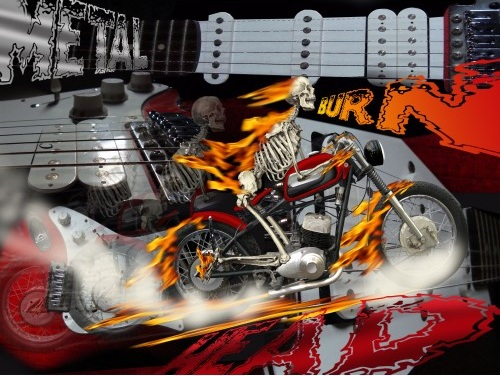 Heavy Metal Bike Rider Burn Poster print