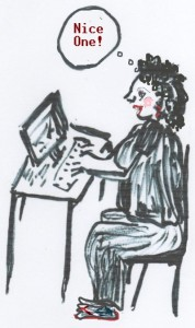 """Diana at the Computer - saying """"Nice One"""""""