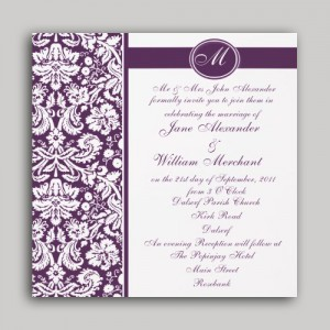 Monogram Damask Wedding Invitation