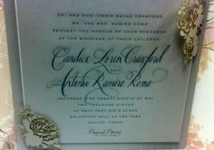 Tony Romo & Candice Crawford Wedding Invitation