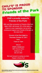 Friends of the Park day at Chili's in Anderson SC