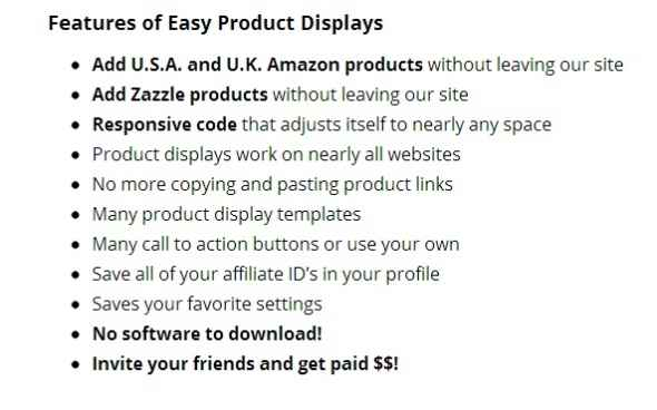 features of easy product displays