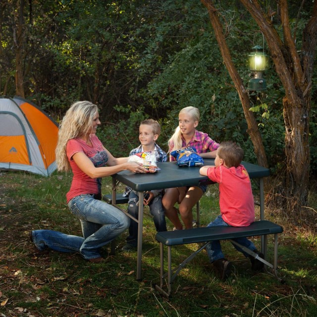A Family Enjoying The Portable Picnic Table Featured Above