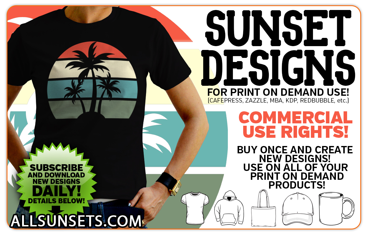 Allsunsets Print on Demand Commercial Use Graphics